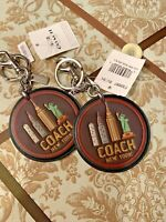 NWT COACHMulti-Color New York IMAGE on round Leather Bag Charm key F32687