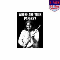 Native American Where Are Your Papers 4 Stickers 4x4 Inch Sticker Decal