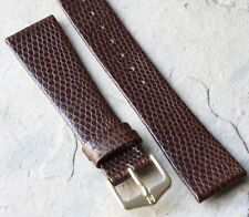 Lizard print unstitched leather 20mm vintage watch band calf-lined Hirsch 1960s