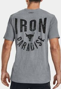 Under Armour Men's UA Project Rock Iron Paradise T Shirt. Steel Light Heather.