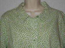 Blouse Denim Co 2X Womens 20W Plus Shirt Green White Top Stretch Print 6p113