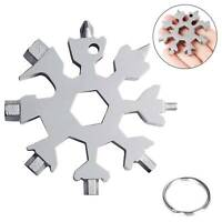 18-In-1 Stainless Steel Multi-Tool Portable Snowflake Shape Keychain Screwdriver