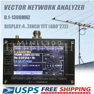 "Mini1300 4.3""LCD 0.1-1300MHz HF/VHF/UHF ANT SWR Antenna Analyzer Meter Tester US"