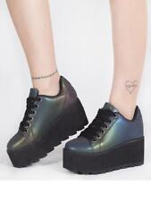 YRU Lala Reflective Punk Emo Goth Rocker Multicolor Vegan Platform Sneaker Shoe