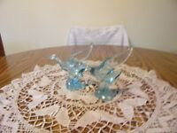 IMPERIAL GLASS FOR HCA TWO HORIZON BLUE MALLARD DUCKS WINGS HALF