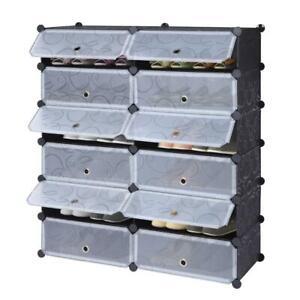 12 Cube Modular Shoe Plastic Storage Organizer Closet Cabinet Rack with Doors US