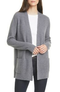 $300 NORDSTROM SIGNATURE CASHMERE OPEN FRONT RIBBED CARDIGAN GRAY SIZE LARGE