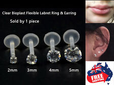 1pc Acrylic 16g Labrets Tragus Studs Rings with 2-5mm CZ Gem Monroe Lip Earrings