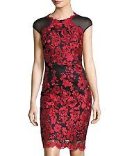 JAX Embroidered Cap-Sleeve Black/Red Mesh Dress Sz. 4  NWT $178 SPECTACULAR!
