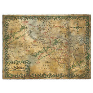 Hobbit Weta Map of the Shire Parchment An Unexpected Journey Authentic Weta Map