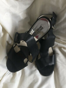 Michael Kors Wedge Sandals T Strap Black Leather Silver Buckle Womens US 9 M