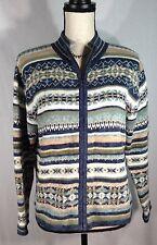 Tiara Women's Blue White Tribal Aztec Full Zippers Sweater Size Medium P