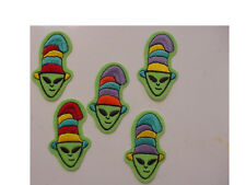 set of 5 VINTAGE CAT IN THE HAT ALIEN PATCH EMBROIDERED 80'S IRON ON PATCH -3.5""