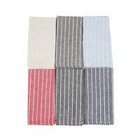 Soft White Striped Linen Cotton Dinner Cloth Napkins - Set of 12 (40 x 30 cm)