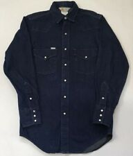 Carhartt Vintage Denim Shirt Pearl Snaps Work Wear Blue USA 14.5x33 Union Made