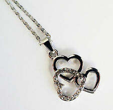 Diamante Crystal Heart Pendant and Necklace Chain Ladies or Girls Jewellery