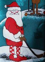 Hallmark Special Ties Santa Golfing Christmas Mens Necktie Novelty Green