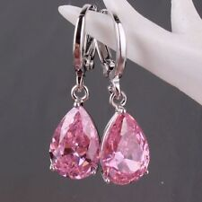 New~ Women's Fashion 925 Solid Silver Pink Sapphire Stud Hoop Earrings Jewelry