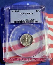 1941-S MERCURY DIME - PCGS MS65 FULL BANDS  - FROSTY WHITE!
