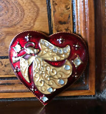Rare! Signed Monet Christmas Angel Heart Brooch Spilla Angelo Cuore Natale