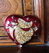 Rare! Signed Monet Christmas Angel Heart Brooch Spilla Angelo Cuore Natale