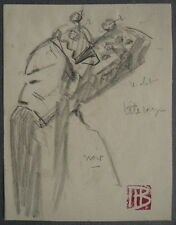 Petit DESSIN Portrait Homme Annamite Théâtre MARCEL BERNANOSE Indochine 1910 #3
