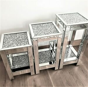 Single Mirrored Crushed Diamond Crystal Two Tier Side End Table Stand Mirror UK