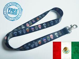 Mexican skull Lanyard Neck Strap for Keys ID Card Holder - W 20mm, L 45cm