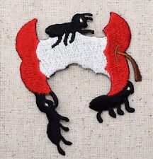 Iron On Embroidered Applique Patch Red Apple Core fruit Black Ants Picnic Food