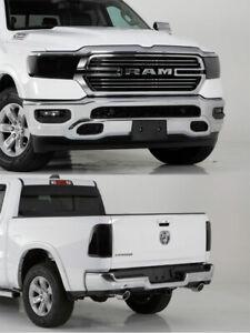 Fits 19-21 Ram 1500 Truck GTS Acrylic Smoke Headlight Taillight Covers 4pc Set