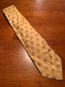 "euc Ermenegildo Zegna Shiny Gold Geometric Silk Tie Necktie Italy 58"" 3.75"""