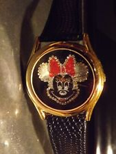 Womens Vintage Pedre Disney Minnie Mouse Watch (Crystal Face)Goldtn-Leather-New