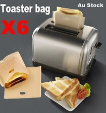 6x Grilled Cheese Sandwich Snack Bags Pockets Reusable Toast Toaster Bag 17x19cm