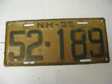 1935 35 New Hampshire NH License Plate 52-189