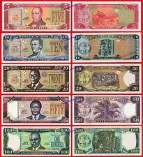 LIBERIA FULL OLD SET 5 10 20 50 & 100 Dollars dolares 2011 Pick 26/30 SC / UNC