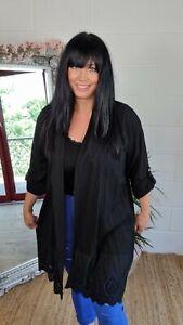 Linen Jacket Rolltab Sleeve Broderie Anglaise Hemline Oversized Fits 12-20 Black