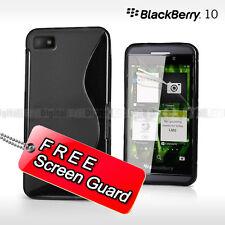 NEW Premium BLACK S CURVED GEL CASE FOR BlackBerry Z10 + Screen Protector