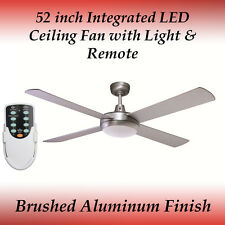 Rotor 52 inch LED Ceiling Fan in Brushed Aluminum with Light and Remote