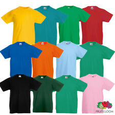 Fruit Of The Loom Kids Tee T Shirt 100% Cotton Short Sleeve Plain New