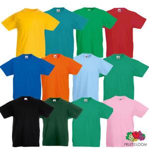 Fruit Of The Loom Kids Tee T Shirt 100% Cotton Short Sleeve Plain New