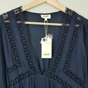 [ SEED HERITAGE ] Womens Openwork Blouse Top NEW $129.95 | Size AU 6 or US 2