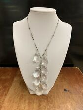 Antique Art Deco Clear Pools of Light and Sterling Silver Statement Necklace