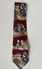 WALT DISNEY MICKEY MOUSE Retro Golfing Vibrant Colors 100% Silk Neck Tie 90's