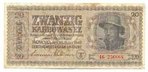 Ukraine German Occupation WWII  Ukrainian Central Bank 20 Karbowanez 1942 F