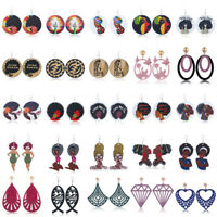 Women Circular African Girl Drop Dangle Earring Wood Jewelry Boho Ear Studs Gift