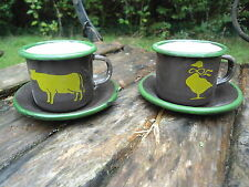 LOT DE 2 TASSES EXPRESSO EMAILLEES  chocolat animaux EMAIL FAB.  EN FRANCE NEUF