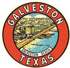 Galveston Beach  TX  Vintage 1950's Style Travel Decal sticker texas label