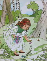 Vintage Lithograph 1950s Little Girl in Woods by Miki