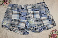 BE BOP Juniors SIZE 3 Blue Madras Patch Plaid Hobo Shorts, Patches, INDIA COTTON
