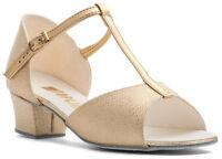 Girls Ladies Gold PU Glitter Ballroom Social Dance Shoes By Topline HOLLY